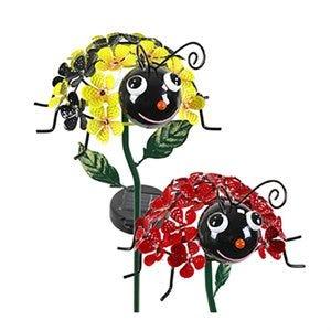 LED Solar Garden Stake Light, Bumble Bee & Ladybug, Acrylic & Metal