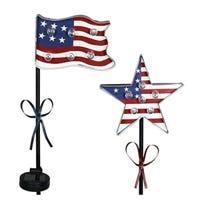 LED Solar Garden Stake Light, Patriotic Flag, Metal & Plastic