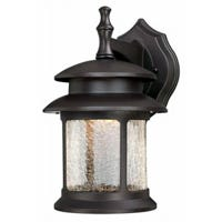 LED Wall Light Fixture, Oil-Rubbed Bronze/Crackle Glass, 500 Lumens, 9-Watt