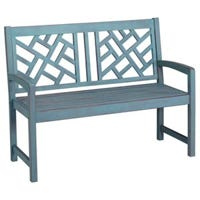 Portland Patio Bench, Blue Distressed Hardwood, 4-Ft.