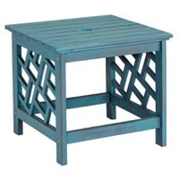 Portland Patio End Table, Blue Distressed Hardwood, 18-In.