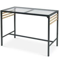 Claremont Patio Bar Table, Glass Top, 56 x 28 x 40.55-In.