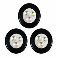 LED Light Up Spot Light, Push Lights, Battery-Operated, Black, 3-Pk.