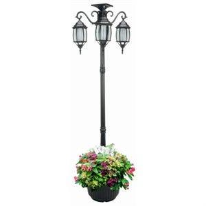 Solar Lamp Post & Planter, 3 Lights, Black, 6.5-Ft.