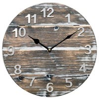 Analog Wall Clock, Quartz, Wood Panel, 12-In.