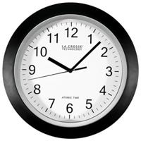 Atomic Analog Wall Clock, Black Plastic Frame, 12-In.