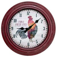 Analog Wall Clock, Distressed Red Rooster, 12-In.