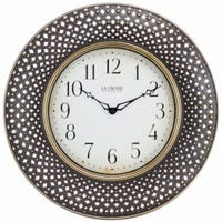 Analog Lattice Wall Clock, Antique Brown, 16-In.