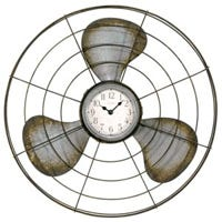 Analog Wall Clock, Quartz, Rustic Metal Fan, 16.5-In.