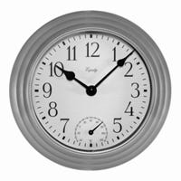 Analog Wall Clock with Temperature, Indoor/Outdoor, Silver, 8-In.