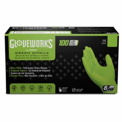 Image of Nitrile Gloves, Heavy-Duty, Green, Large, 100-Ct.