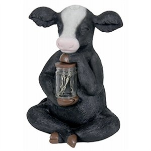 Image of LED Solar Statue, Cow With Lighted Fireflies