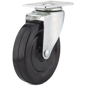 Swivel Plate Caster, Rubber Wheel, 5-In.