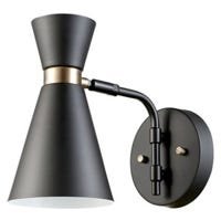 Belmont Collection Wall Sconce, Black Finish With Gold Accents