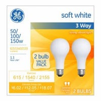 3-Way Light Bulbs, Frosted Soft White, 50/100/150-Watts, 2-Pk.