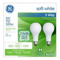 3-Way Light Bulbs, Frosted Soft White, 30/70/100-Watts, 2-Pk.
