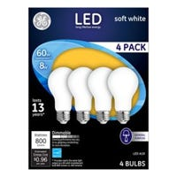 LED Light Bulbs, Frosted Soft White, 8-Watts, 750 Lumens, 4-Pk.