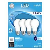 LED Light Bulbs, Frosted Daylight, 8-Watts, 750 Lumens, 4-Pk.