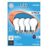 LED Light Bulbs, Frosted Daylight, 5-Watts, 450 Lumens, 4-Pk.