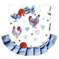 Hen Saddle Apron Jacket, Blue Chickens & Hearts Pattern