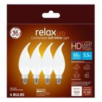 LED Chandelier Light Bulbs, Candle Shape, Soft White, 500 Lumens, 5.5-Watts, 4-Pk.