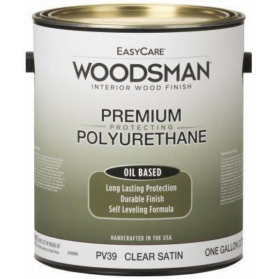 Woodsman Fast Dry Varnish Polyurethane Interior Wood Finish, Oil Base, Clear Satin, Gallon