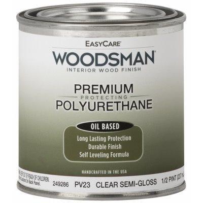Woodsman Fast Dry Varnish Polyurethane Interior Wood Finish, Oil Base, Clear Semi-Gloss, 1/2-Pt.