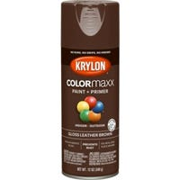 COLORmaxx Spray Paint + Primer, Gloss Leather Brown, 12-oz.