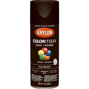 COLORmaxx Spray Paint + Primer, Flat Black, 12-oz.