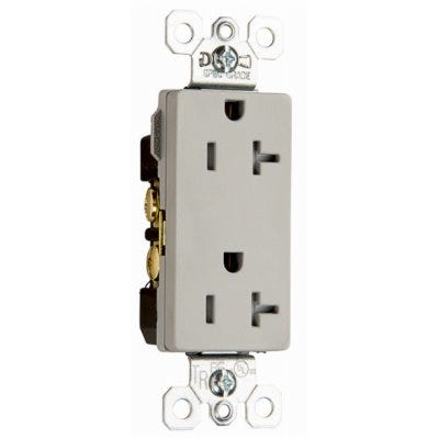 Decorator Outlet, Heavy-Duty, Gray, 20-Amp