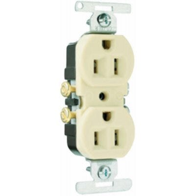 Trademaster Duplex Outlet, White, 15-Amp