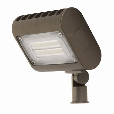 LED Flood Light Fixture, Commercial Grade, 1600 Lumens, 15-Watt, 4.5-In.