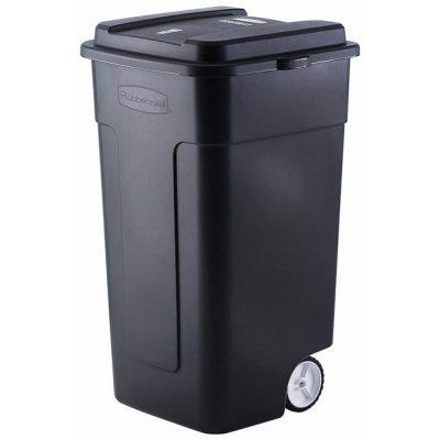 Roughneck Wheeled Trash Can, Heavy-Duty, Black, 50-Gallons