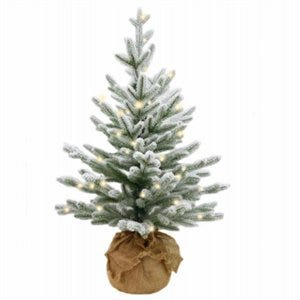 Artificial Pre-Lit Christmas Tree, Feel Real Snowy Cambridge Fir, 35 LED Lights, 2.5-Ft.