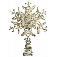 LED Snowflake Tree Topper, Gold, Battery-Operated