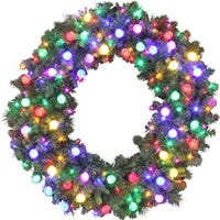 Artificial Wreath, Bristol Pine, 170 LED Lights, 48-In.
