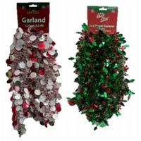 Tinsel Garland, Die Cut, Assorted Colors, 12-Ft.