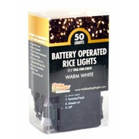 LED Rice Light Set, Warm White, Battery-Operated, 50-Ct.