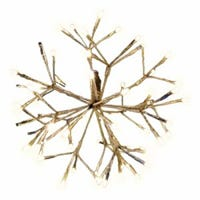 LED Shimmering Sphere, Wire Branches, Gold & Warm White, 12-In.