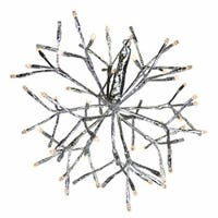 LED Shimmering Sphere, Wire Branches, Silver & Warm White, 12-In.