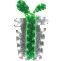 LED Christmas Window Decoration, Silver Present/Green Bow Tape Light, 18-In.
