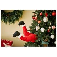 Christmas Decoration, Animated Santa Kicker, 16-In.