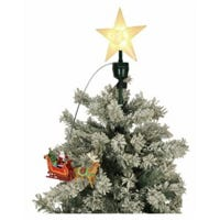 Tree Topper, Animated Santa & Sleigh, 8-In.