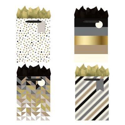 Christmas Gift Bags, Medium, Black, White & Gold
