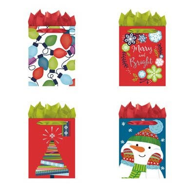 Juvenile Christmas Gift Bags, Medium, Traditional
