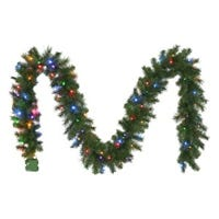 Christmas Garland, 100 Multi-Color LED Lights, 10-In. x 9-Ft.