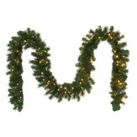 Artificial Garland, 100 Warm White LED Lights, 10-In. x 9-Ft.