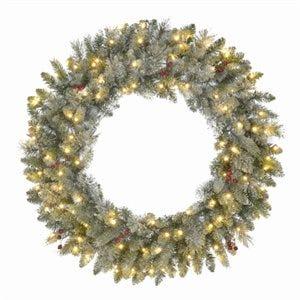 Jackson Snowy Pine Wreath, 50 Warm White Micro Dot LED Lights, 24-In.