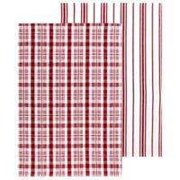 Farmhouse Towel Set, Red, 100% Cotton, 19 x 28-In., 2-Pk.