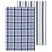 Farmhouse Towel Set, Ink Blue, 100% Cotton, 19 x 28-In., 2-Pk.